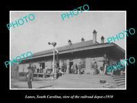 OLD LARGE HISTORIC PHOTO OF LANES SOUTH CAROLINA, RAILROAD DEPOT STATION c1910