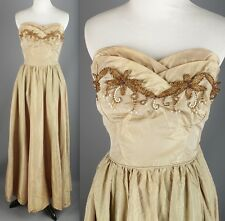 VTG 50s Gold Taffeta Beaded Formal Maxi Dress #1467 1950s
