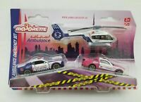 MAJORETTE 3 PCS SET DUBAI AMBULANCE DODGE CHARGER FORD MUSTANG HELICOPTER