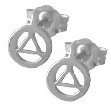 AA Alcoholics Anonymous Dainty Stud Earrings 14k Gold #340-6 Very Small Size