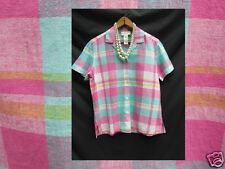 Jones New York Top Short Sleeve Plaid  Shirt Woman PP Petite 38 Chest
