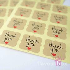 60x Thank You 2.5 cm Kraft Brown Seal Stickers Favour Box Invitation Wedding