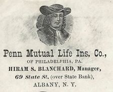 1880's  Advertising Cover Penn Mutual Life Ins. Co WM Penn Portrait Corner Card