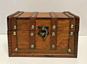 Brown Vintage Wooden Storage Chest Treasure Trunk Retro With Studs Rustic