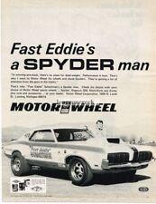 1970 Motor Wheel Spyder Fast Eddie Shartman Boss 429 Cougar Dragster Vtg Ad