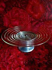Coupe à fruits compotier ancien verre ou demi cristal pied aluminium Art Déco