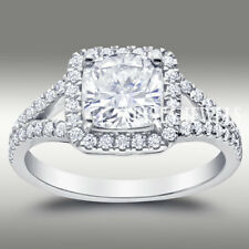 1.90 CT CUSHION CUT FOREVER MOISSANITE HALO ENGAGEMENT RING 14K SOLID WHITE GOLD