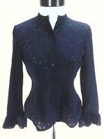 RALPH LAUREN Petite Eyelet Blouse Button Front Shirt LRL Navy Women's 4P $89.50