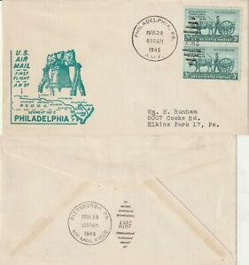 US 1949 AM 97 FIRST FLIGHT FLOWN COVER PHILADELPHIA PA TO PITTSBURGH PA