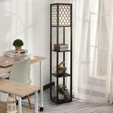 HOMCOM Modern Shelf Floor Lamp Light with 4-tier Open Shelves Wooden