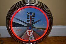 FIRESTONE EMBLEM Neon Chrome Clock NHRA Drag Racing Ford Chevy chevrolet