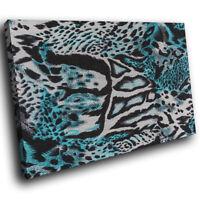 Blue Jaguar Fur Coat   Funky Animal Canvas Wall Art Large Picture Prints
