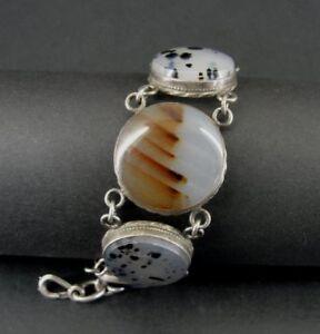 Vintage 5 Stone Agate Sterling 925 Silver Link Chain Bracelet