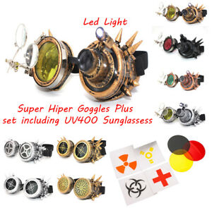 Sunglasses CYBER GOGGLES STEAMPUNK COSPLAY GOTH ANTIQUE VICTORIAN WITH LED