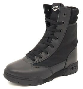 Ascot Combat Hi Leg Black Leather Lace Up Boys Army Boots Size UK 5