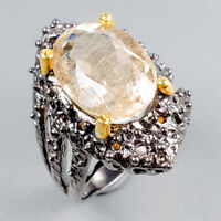 Antique ITEM Natural Rutilated Quartz 925 Sterling Silver Ring Size 5.5/R122511