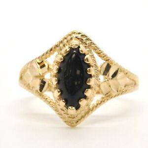 Ladies 14k Yellow Gold Diamond Cut Leaf Motif Black Onyx Vertical Estate Ring