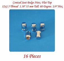 """16 Conical Seat Bulge Nuts,Flat Top 12x1.50 Thread1.38""""Tall 3/4""""Hex.60 Degree"""