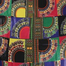 African waxed fabric multi-dashiki print design sold by the yard
