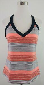 Nike Womens Size XL Gray Coral Stripe Activewear Top Adjustable Straps Shelf Bra