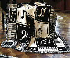 Keynote Music Notes Tapestry Afghan Throw