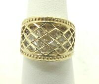 14K Y & W Two Tone Gold Diamond Cut Caged Basket Woven Ring DiaCut Sz6 5.6g D776