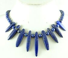 Natural smooth Lapis Lazuli Handmade Gemstone Jewellery Necklace A1