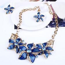 Cristal Women Flower Chunky Pendant Chain Choker Necklace Earrings Jewelry Set