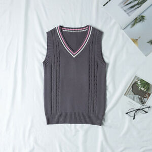 Japanese School JK Uniform Knitted Vest V-Neck Sleeveless Sweater Pullover Gift