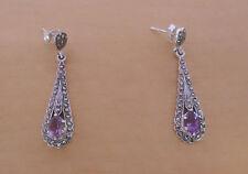 925 Sterling Silver Amethyst & Marcasite Stone Teardrop Drop Stud Earrings