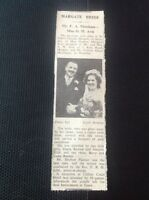 c2-2 ephemera 1950 Margate Wedding Mr F A Marsham Miss D M Avis