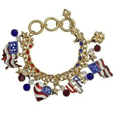 Ritzy Couture USA American Flag Themed Patriotic Toggle Charm Bracelet(Goldtone)