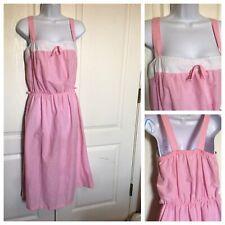 Vintage 1980s Sundress Halter Dress Pink White Lightweight Boho Dress  Cute!