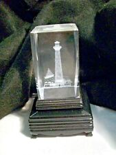 Glass Etched Hologram Lighthouse Paperweight w/ Muti Color Motion Lighted Base