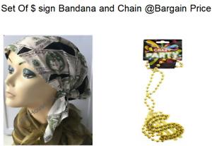 USA Dollar $ Bandanna Headband/wrist Scarf & Gold $' Sign Gangster 60s 70s Combo