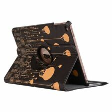 "360 Degree Rotation Leather Designer Case For New iPad 9.7"" 2017 -- Black Lights"