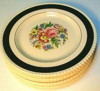 """Fondeville England Salad Plates Ambassador Ware Blue Gilded Floral 8"""" Set of 8"""