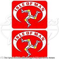 "ISOLA di MAN Bandiera Celtica, TT Corse MANX 75mm (3"") Adesivi Casco Stickers x2"