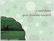 #7185 -- WESTERN COWGIRL GREEN FLAT NOTECARDS WITH ENVELOPES SET OF 20 -LOVELY!