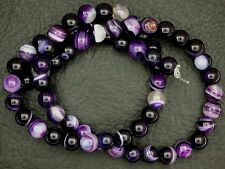 6mm Round Striped Purple Color Agate Gem Stone Gemstone Bead 15 Inch Strand