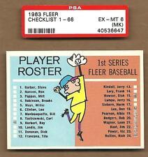 1963  FLEER    CHECKLIST    PSA  6   EX / MINT   (MK)   !!