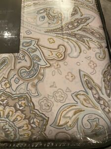 NICOLE MILLER HOME King 5pc Printed Paisley Comforter Set Beautiful Gold Detail