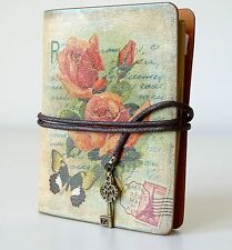 Small Rose & Butterfly Notebook Journal Vintage Shabby Style Travel Note Book