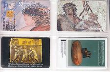 4 TELECARTE / PHONECARD EUROPE .. GRECE PACK/MIX ART PEINTURE PAINT CHIP/PUCE