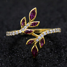 Ruby & Diamonds Leaf Cocktail Ring 14kt Solid Yellow Gold Ring For Gift