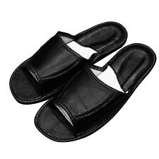 Genuine Leather Black Mens Men open toes slippers shoes plus size 7 8 9 10 11 12