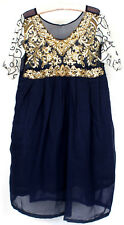 Unknown Women's Navy w/ Gold Embroidery Princess Sheer Short Sleeve Dress