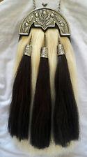Scottish Kilt Original Long Horse Hair Dress Sporran With Antique Anemal Cantel