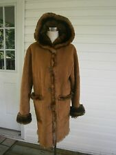 Fancy Jones New York Red Brown Faux Fur Coat Sz S Hoody Reversible
