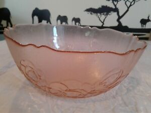 "Arcoroc France Serving Bowl With Embossed Flowers 9"" Pink Glass"